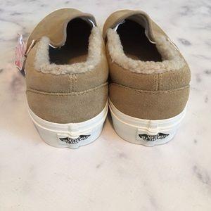 289ef5ec914 Vans Shoes - VANs NWB Khaki Suede Faux Fur Lined Slip-ons